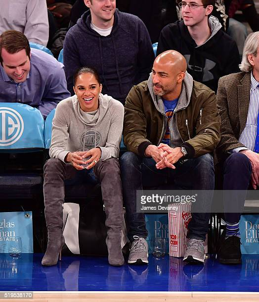 Misty Copeland and Olu Evans attend the Charlotte Bobcats vs New York Knicks game at Madison Square Garden on April 6 2016 in New York City