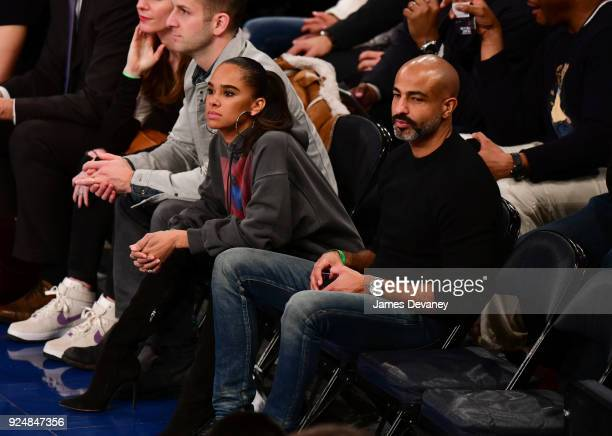 Misty Copeland and Olu Evans attend the New York Knicks Vs Golden State Warriors game at Madison Square Garden on February 26 2018 in New York City