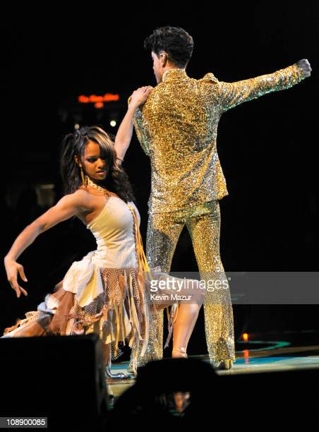 Misty Copeland and Prince perform during his 'Welcome 2 America' tour at Madison Square Garden on February 7 2011 in New York City