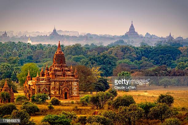 misty dawn - myanmar stock pictures, royalty-free photos & images