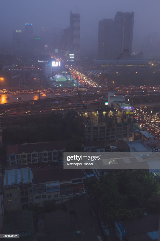 Misty day , Bangkok rain storm : Stock Photo