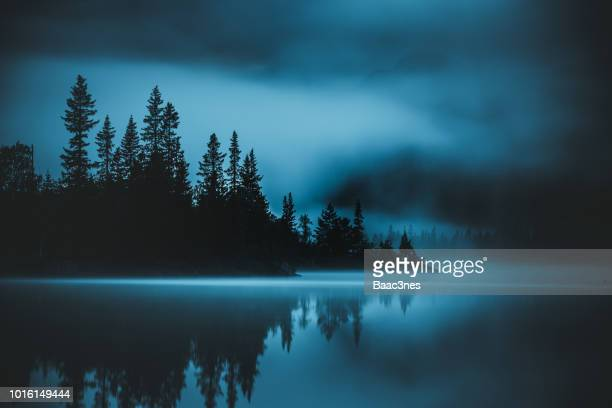 misty evening - telemark stock pictures, royalty-free photos & images