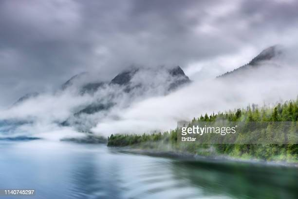 misty fjord shoreline, alaska - water's edge stock pictures, royalty-free photos & images