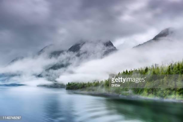 misty fjord shoreline, alaska - nebel stock-fotos und bilder