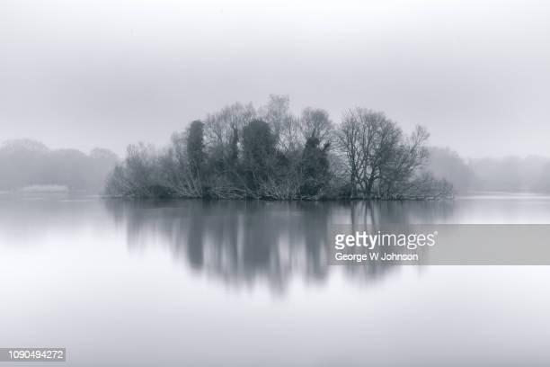 misty island - paesaggio marino foto e immagini stock