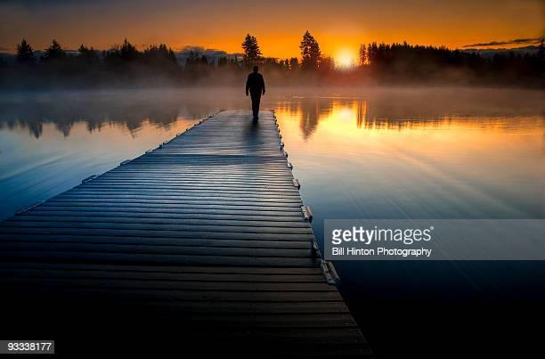 Misty lake sunrise in paradise