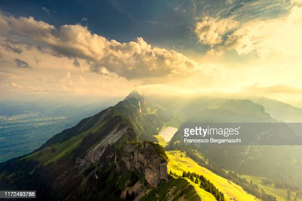 misty landscape from hoher kasten, canton of appenzell, alpstein, switzerland, europe - liechtenstein stock pictures, royalty-free photos & images