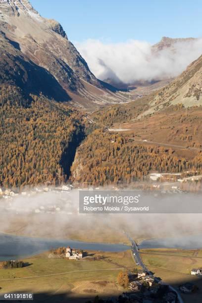 Misty landscape Plaun Da Lej Switzerland