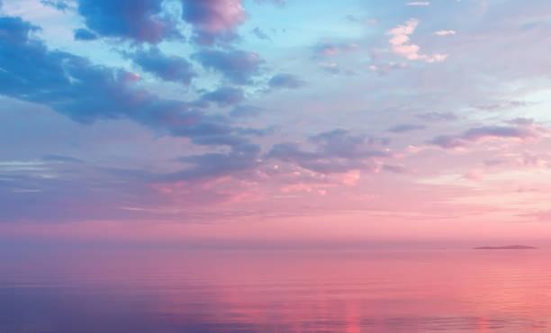 Misty Lilac Seascape Pink Clouds - Fine Art prints