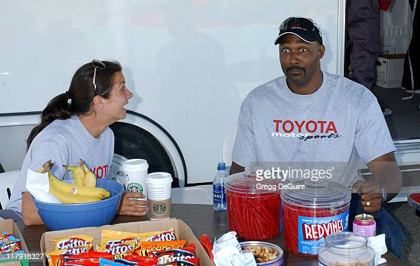 Misty May and Karl Malone during 2005 Toyota Pro/Celebrity Race Driver Training at Willow Springs International Raceway in Rosamond California United...