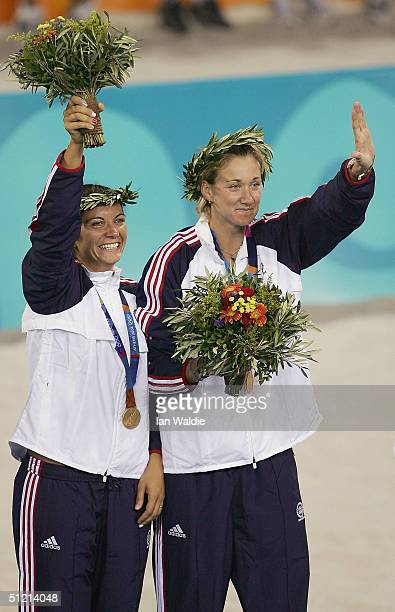 Misty May and Kerri Walsh of United States receive their medals in the women's Beach Volleyball medal ceremony on August 24, 2004 during the Athens...