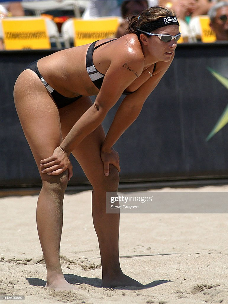 Misty May in action during the women's final of the 2004 AVP Nissan Series Hungting Beach Open at the Huntington Beach Pier, May 30, 2004.