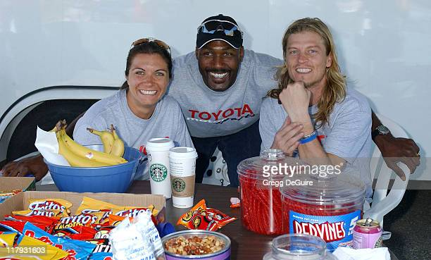 Misty May Karl Malone and Wes Scantlin during 2005 Toyota Pro/Celebrity Race Driver Training at Willow Springs International Raceway in Rosamond...