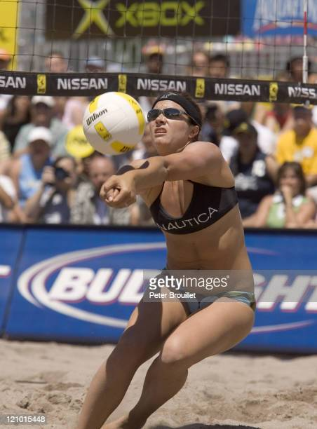 Misty May Olympic Beach Volleyball Gold Medalist bump sets in during the 2005 Tempe Open at the Tempe Beach Park in Tempe Arizona on April 24 2005