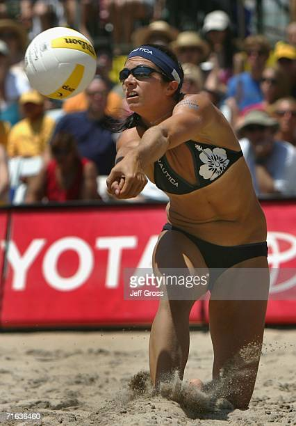 Misty MayTreanor digs the ball during the AVP Manhattan Beach Open final match on August 12 2006 in Manhattan Beach California Misty MayTreanor and...