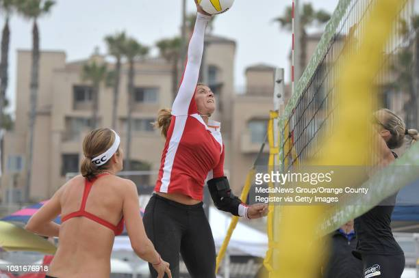 USA Misty MayTreanor goes after the ball ash as she and Nicole Branagh take on Kim Whitney and Carrie Wright during the first round of the 2010 AVP...