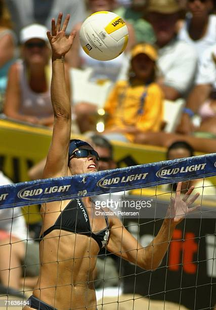 Misty MayTreanor hits the ball during the AVP Manhattan Beach Open final match on August 12 2006 in Manhattan Beach California Misty MayTreanor and...