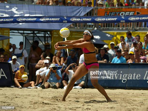 Misty May-Treanor sets for Kerri Walsh during the AVP Hermosa Beach Open at the Hermosa Beach Pier on July 24, 2005 in Hermosa Beach, California.