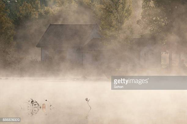misty morning by the lake - vaxjo stock pictures, royalty-free photos & images