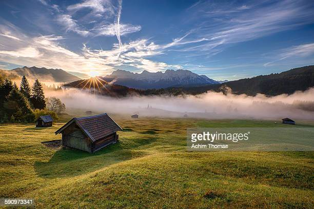 misty morning in bavaria - shack stock pictures, royalty-free photos & images