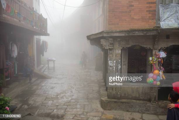 Misty morning in the old town of Bandipur Nepal on March 31 2019