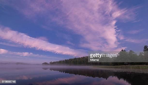 Misty morning lake view
