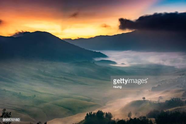 misty morning - bromo tengger semeru national park stock photos and pictures
