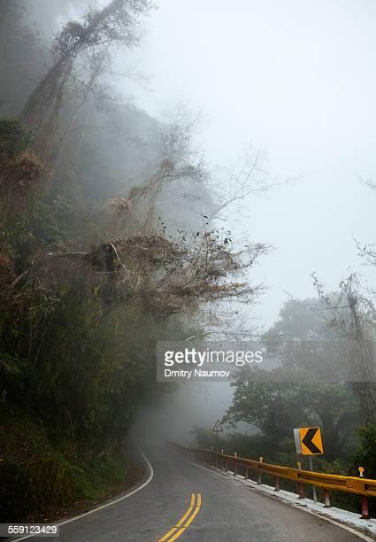 Misty mountain road in Taiwan