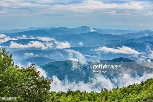 misty mountains and forest, blue ridge parkway - blue ridge parkway stock pictures, royalty-free photos & images