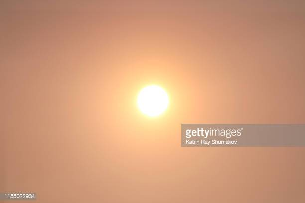 misty peachy sun - halo symbol stock pictures, royalty-free photos & images