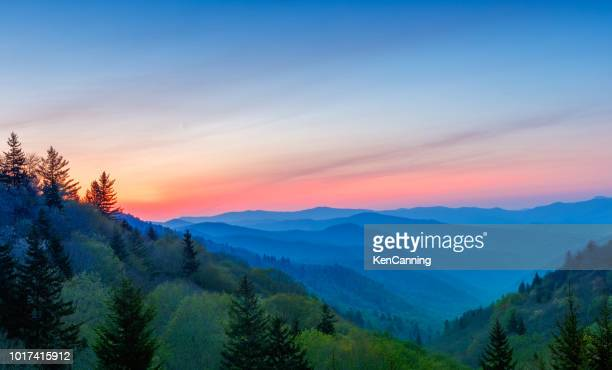 Misty Rolling Mountain Range Just Before Sunrise at Great Smoky Mountains National Park