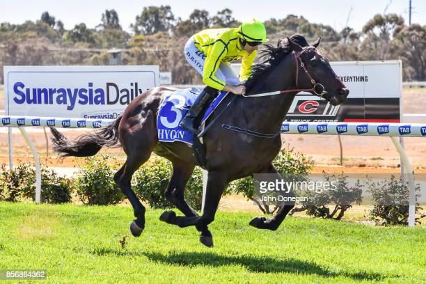 Misty Sea ridden by Declan Bates wins the Euston Club Resort Maiden Plate at Mildura Racecourse on October 03 2017 in Mildura Australia