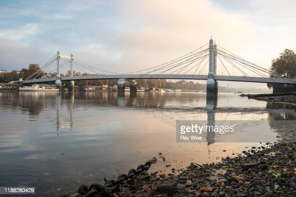 misty sunrise at albert bridge in london - battersea stock pictures, royalty-free photos & images