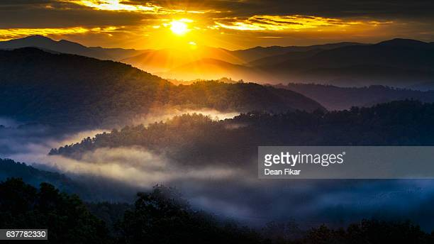 misty sunrise in the smokies - parque nacional das great smoky mountains - fotografias e filmes do acervo