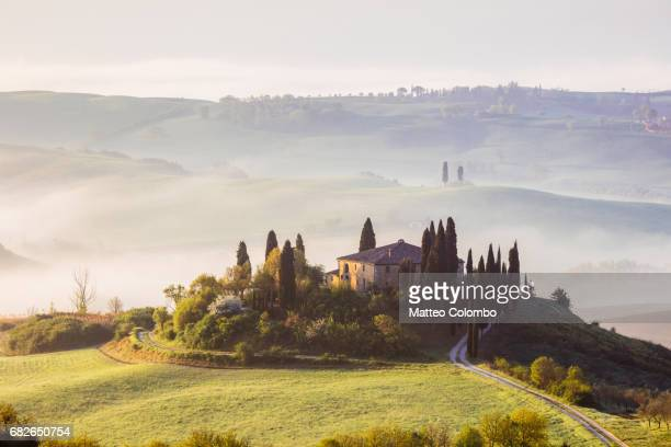 misty sunrise over belvedere, tuscany, italy - val d'orcia foto e immagini stock