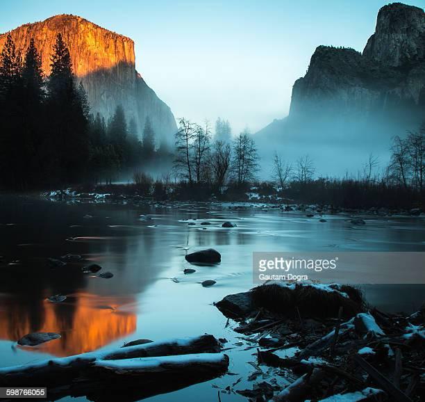 Misty sunset in Yosemite