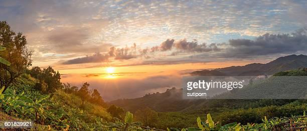 Misty sunset  landscape, Mekong river, NongKhai, Thailand
