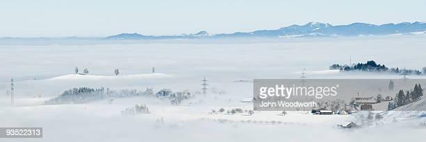 Misty Swiss valley