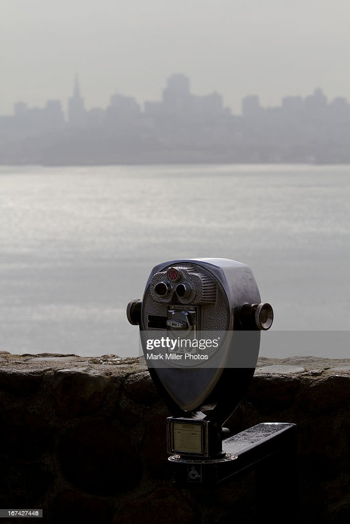 Misty view of San Francisco Bay and Skyline : Stock Photo