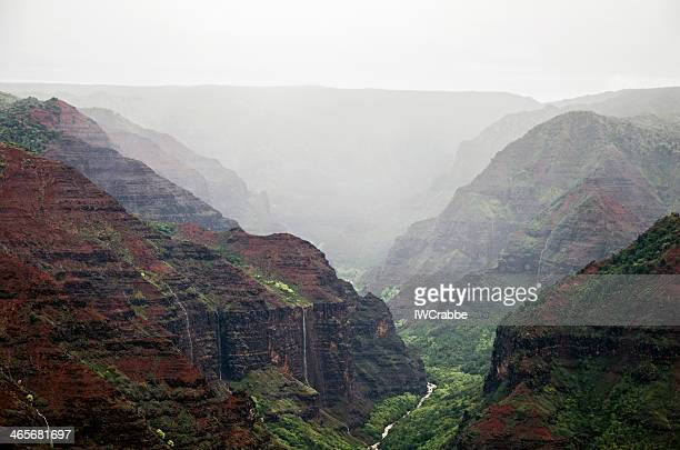 misty waimea canyon,kauai - waimea canyon stock pictures, royalty-free photos & images