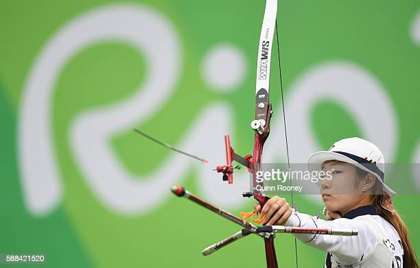Misun Choi of Korea competes in the Women's Individual round of 8 Elimination Round on Day 6 of the Rio 2016 Oklympics at Sambodromo on August 11...