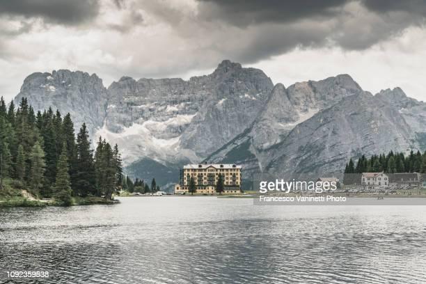 misurina lake, dolomites. - stately home stock pictures, royalty-free photos & images