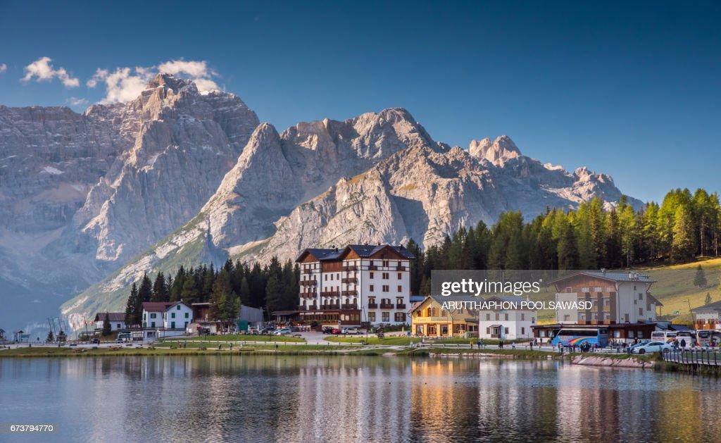 Misurina Lake in summer time , south tyrol ,dolomites , Italy : ストックフォト