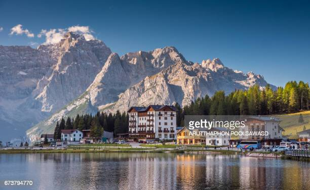 misurina lake in summer time , south tyrol ,dolomites , italy - alto adige italy stock pictures, royalty-free photos & images