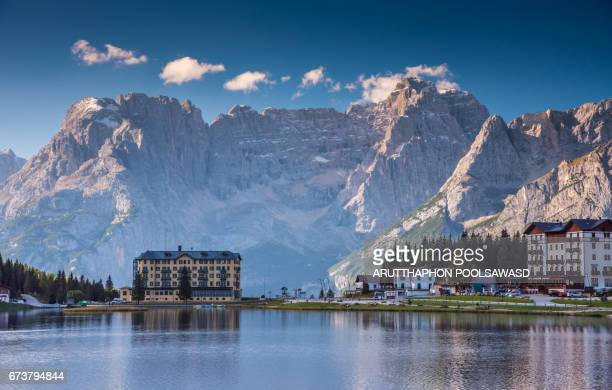 misurina lake in summer time , south tyrol ,dolomites , italy - belluno stock pictures, royalty-free photos & images