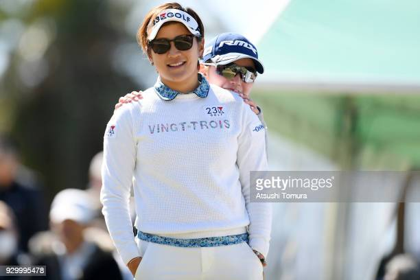 Misuzu Narita and Aya Ezawa of Japan smiles during the second round of the Tokohama Tire PRGR Ladies Cup at Tosa Country Club on March 10 2018 in...