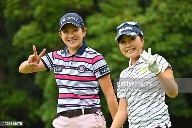 Misuzu Narita and Serena Aoki of Japan pose on the 12th hole during the practice round ahead of the Earth Mondamin Cup at the Camellia Hills Country...