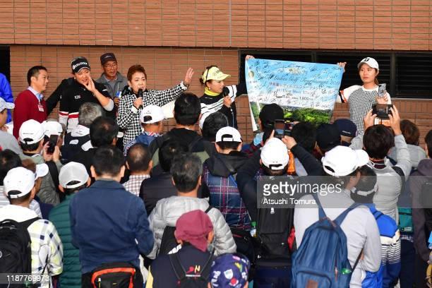 Misuzu Narita Mieko Suzuki Chie Arimura and Momoko Osato host the charity auction after the first round of the ItoEn Ladies at Great Island Club on...