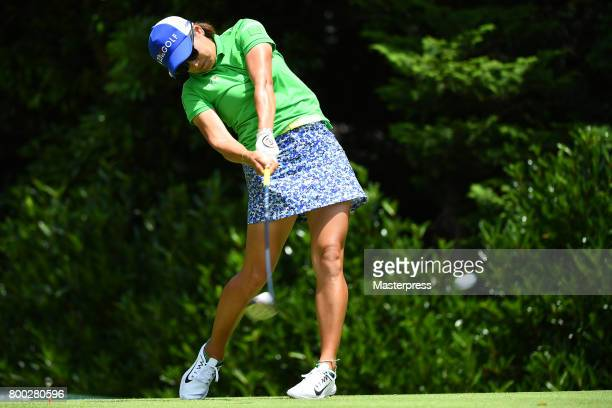 Misuzu Narita of Japan hits her tee shot on the 7th hole during the third round of the Earth Mondamin Cup at the Camellia Hills Country Club on June...