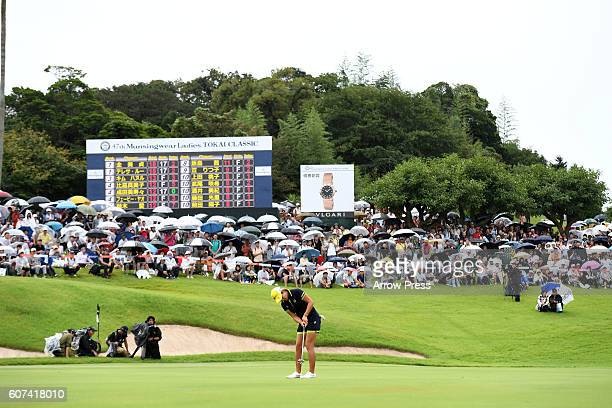 Misuzu Narita of Japan putts on the 18th green during the Final round of the Munsingwear Ladies Tokai Classic 2016 at the Shin Minami Aichi Country...